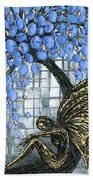 Fairy Under Blue Blossom Bath Towel