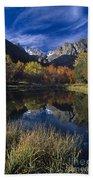 Fall Color And Reflection Below Middle Palisades Glacier California Bath Towel