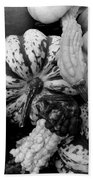 Fall Gourds Black And White Hand Towel