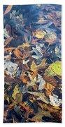 Fall Leaves In A Pond Bath Towel