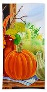 Fall Leaves Pumpkin Gourd Hand Towel