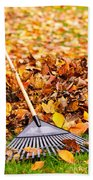 Fall Leaves With Rake Bath Towel