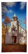 Fall Morning At Palmer Chapel In Cataloochee Bath Towel