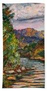 Fall New River Scene Bath Towel