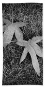 Fallen Autumn Leaves In The Grass During Morning Frost Bath Towel