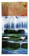Falls Panorama-features In Groups Rivers Streams And Waterfalls-visions Of The Night Bath Towel