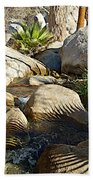 Fan Palm Leaves And Shadows Over Andreas Creek Rocks In Indian Canyons-ca Bath Towel