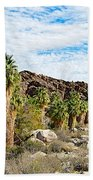 Fan Palms Line The Creek In Andreas Canyon In Indian Canyons-ca Bath Towel