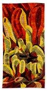 Fanciful Bold Floral Mosaic Bath Towel