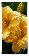 Fancy Yellow Daylilies Bath Towel