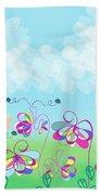 Fantasy Flower Garden - Childrens Digital Art Bath Towel