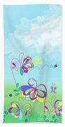 Fantasy Garden Chisdren's Art - Side Panel 2 Bath Towel