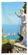 Faraglioni Rocks From Mt Solaro Capri Bath Towel