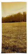 Farm Field With Old Barn In Sepia Bath Towel