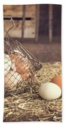 Farm Fresh Eggs Bath Towel