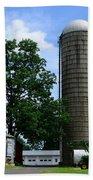 Farm - John Deere Tractor And Silos Bath Towel