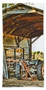Farm Shed Digital Watercolor Bath Towel