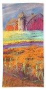 Farmland Sunset Bath Towel