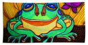 Fat Green Frog On A Sunflower Hand Towel