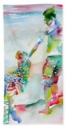 Father And Children Bath Towel
