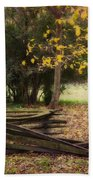 Fence And Tree In Autumn Bath Towel