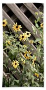 Fence Lined Wildflowers Bath Towel