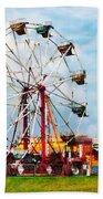 Ferris Wheel Against Blue Sky Bath Towel