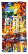 Few Boats - Palette Knife Oil Painting On Canvas By Leonid Afremov Bath Towel