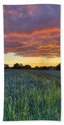 Field At Sunset Bath Towel