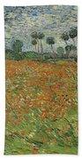 Field Of Poppies, Auvers-sur-oise, 1890 Bath Towel