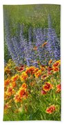 Fields Of Lavender And Orange Blanket Flowers Bath Towel