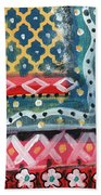 Fiesta 4- Colorful Pattern Painting Bath Towel by Linda Woods