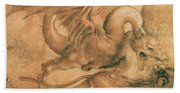 Fight Between A Dragon And A Lion Bath Towel