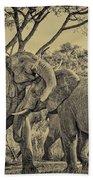 fighting male African elephants Bath Towel