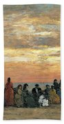 Figures On The Beach In Trouville Bath Towel