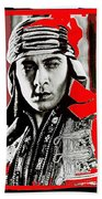 Film Homage Rudolph Valentino The Shiek 1921 Collage Color Added 2008 Bath Towel