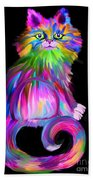 Finger Painted Cat Hand Towel
