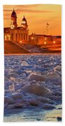 Fire Over The Clinton County Courthouse Bath Towel