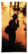 Firefighter At Night On The White Draw Fire Bath Towel