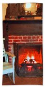 The Family Hearth - Fireplace Old Rocking Chair Bath Towel