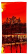 Firey Dawn Over The Marsh Bath Towel