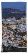 Firostefani At Night Santorini Cyclades Greece  Bath Towel