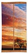 First Dawn Barn Wood Picture Window Frame View Bath Towel