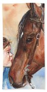 Horse Painting Of Paint Horse And Girl First Kiss Bath Towel