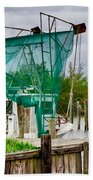 Fishing Boat And Pelicans On Posts Bath Towel