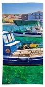 Fishing Boat On Turquoise Sea Bath Towel