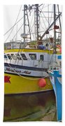 Fishing Boat Reflection In Branch-newfoundland-canada Bath Towel