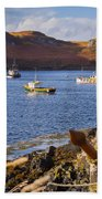Fishing Boats At Anchor In A Quiet Bay On The Isle Of Skye In Sc Bath Towel