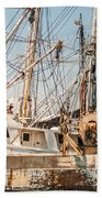 Fishing Boats In Harbour Bath Towel