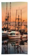 Fishing Fleet Sunset Boat Reflection At Fishermans Wharf Morro Bay California Bath Towel